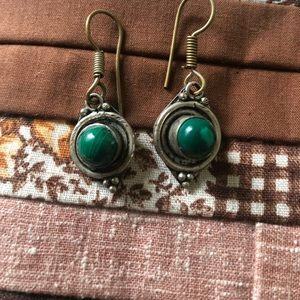 Vintage malachite earrings